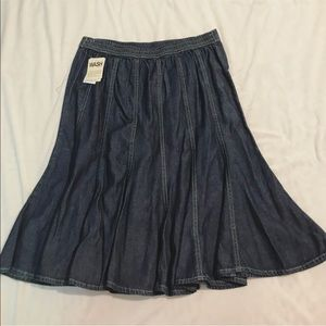 NWT jean flare skirt size small